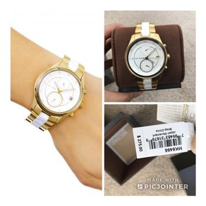 a9dc018ee202 Michael Kors NWT Briar Gold-Tone and White Silicone Multifunction MK6466
