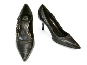 Burberry Leather Heels Black Dark Brown Pumps