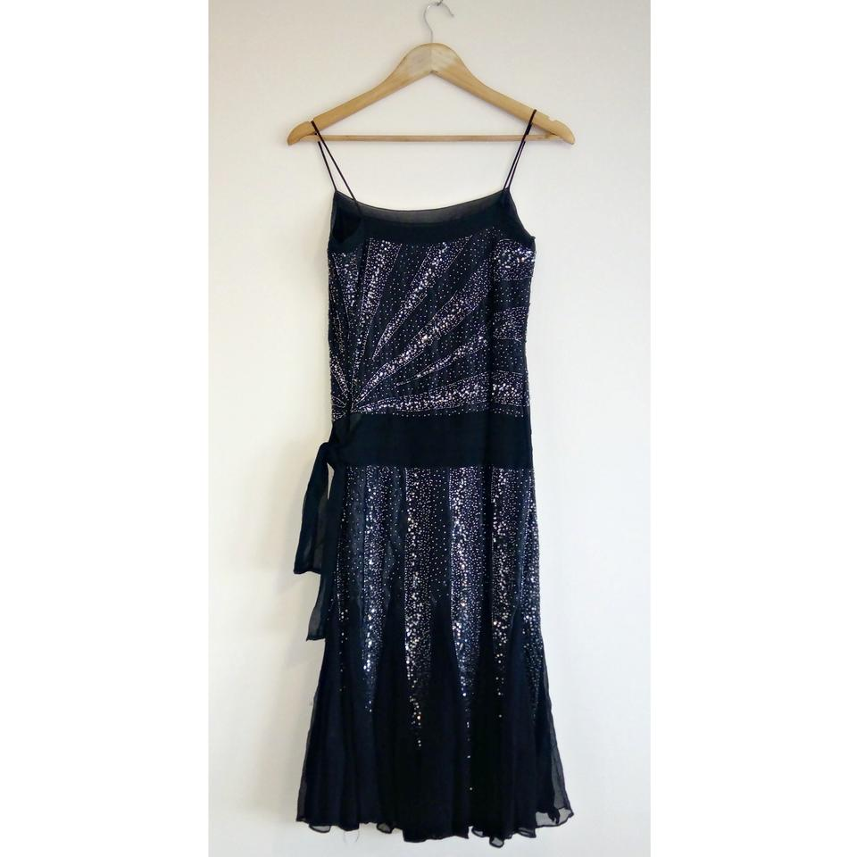 Massimo Dutti Black Flapper Gown Great Gatsby Retro 20s Beaded Mid ...