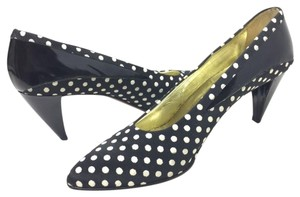 Walter Steiger Polka Dots Fabric Leather Medium Heels Black and White Pumps