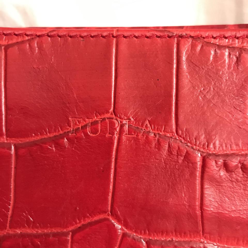 0df1fc7639e1 Furla Embossed Gator Croc Red Leather Satchel - Tradesy