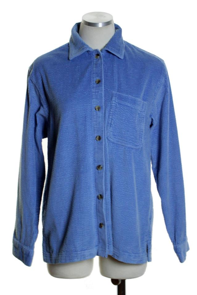 Blue heavy corduroy pocket long sleeve shirt p48 button for Heavy button down shirts