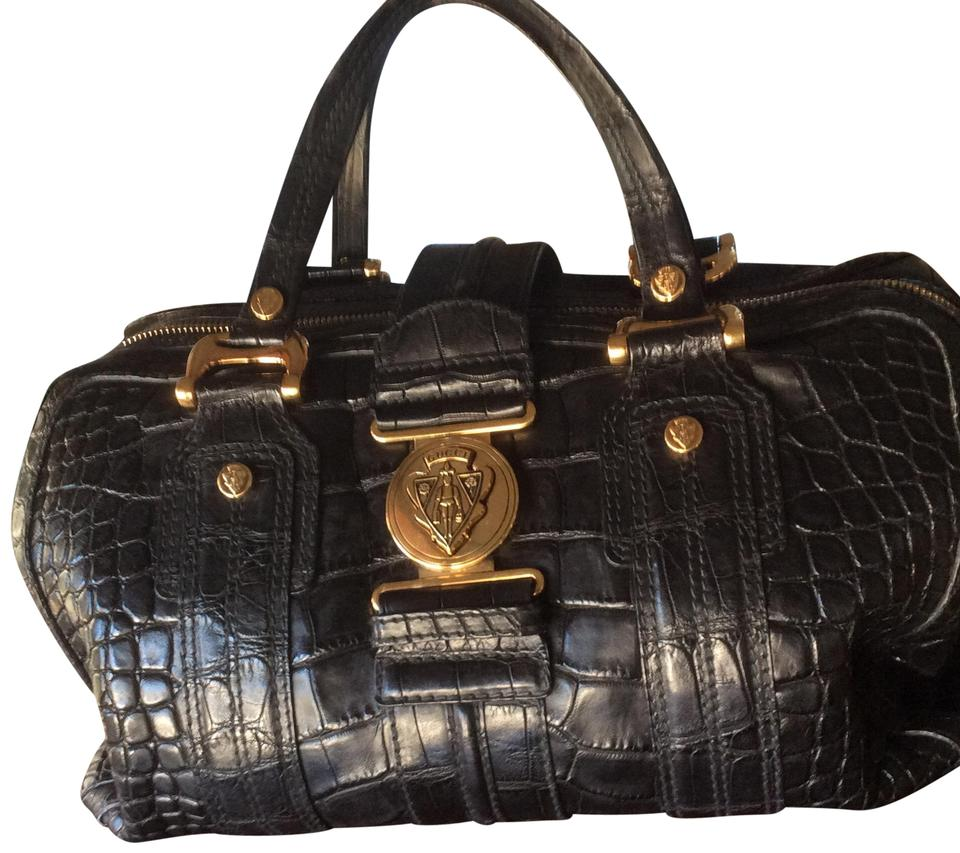 ec15c3e86ba445 Gucci Boston Large Aviatrix Black Crocodile Skin Leather Satchel ...