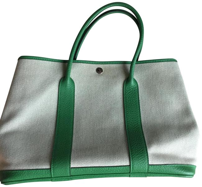 Item - Garden Party 36 Officier and Negonda Calfskin with Chevro Green Beige Canvas Tote
