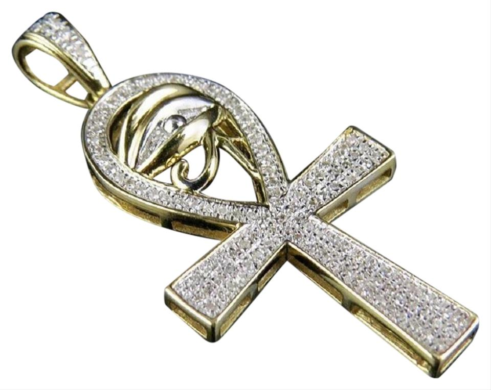 Jewelry unlimited yellow gold 10k diamond eye of ra ankh cross jewelry unlimited 10k yellow gold diamond eye of ra ankh cross pendant charm 025 ct aloadofball Images