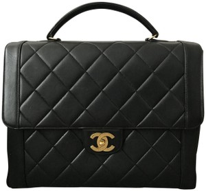 Chanel Vintage Quilted White Shoulder Satchel in Black
