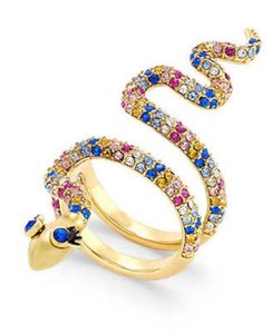 Kate Spade KATE SPADE 12K Gold Plated Multi Spice Things Up Snake Ring, Sz 7