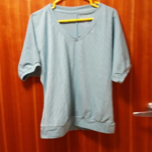 Sonoma T Shirt Light blue with thin silver stripes