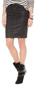 Current/Elliott Coated Minimal Pencil Skirt Black