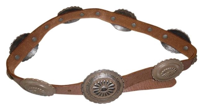 Item - Brown Silver Leather Metal Western Buckle Small Belt
