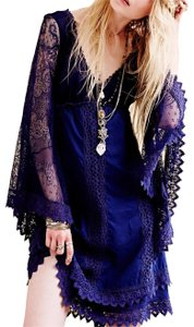 Free People Longsleeve Lace V-neck Crochet Midi Dress