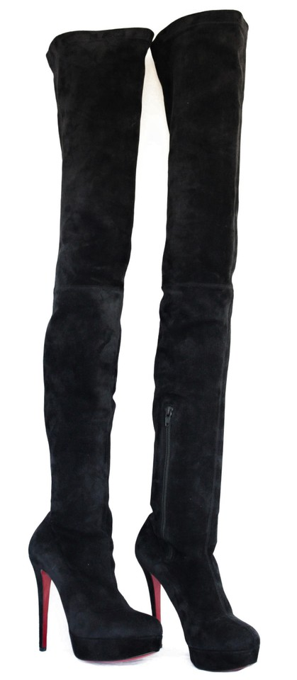 c2406b8ebbc Christian Louboutin Black Suede New Gazolina Platform Thigh High Over Knee  Heel Lady Red Sole Boots Booties