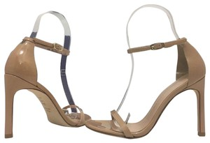 Stuart Weitzman High Ankle Strap Adobe Aniline Nude Patent Leather Sandals