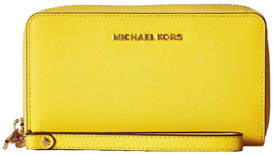 4d02e5e88d6f MICHAEL Michael Kors Wallet Sunflower Saffiano Leather Phone Wallet  190049151532 Wristlet in Sunflower(Yellow) ...
