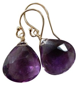 Fashion Jewelry For Everyone Amethyst 14K Solid Yellow Gold Dangle Earrings