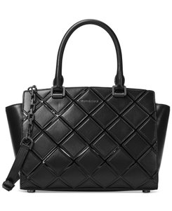 Michael Kors Selma Medium Quilted Leather Shoulder Satchel in Black