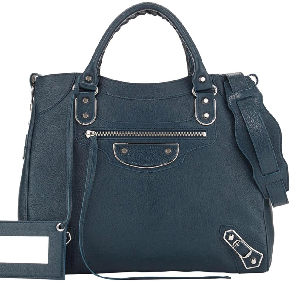 62d79b64af0 Balenciaga Metallic Edge Velo Bleu Paon (Dark Teal) Leather Satchel ...