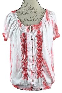 Fever Tie-dyed Lace Buttons Bohemian Hippie Top White, Pink