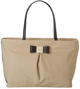 Kate Spade Bow Vachetta Pink Red Ivory Tote in Beige Black