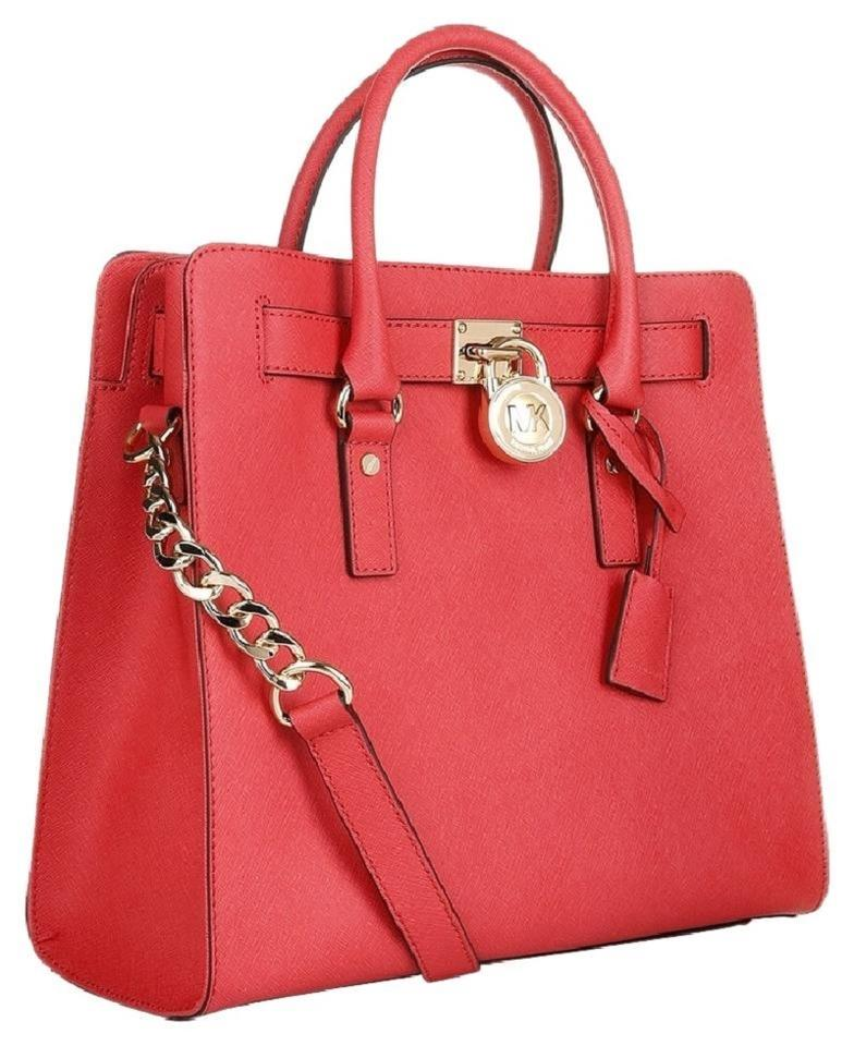 Michael Kors C Gold North South Satchel Lock Tote In Watermelon Pink Red