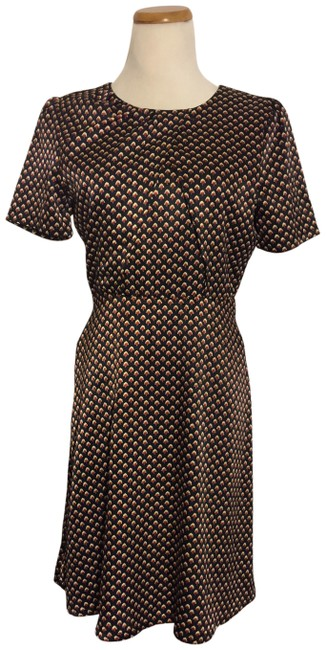 Item - Maroon Blue Floral Patterned Casual/Office Midi Mid-length Short Casual Dress Size 6 (S)