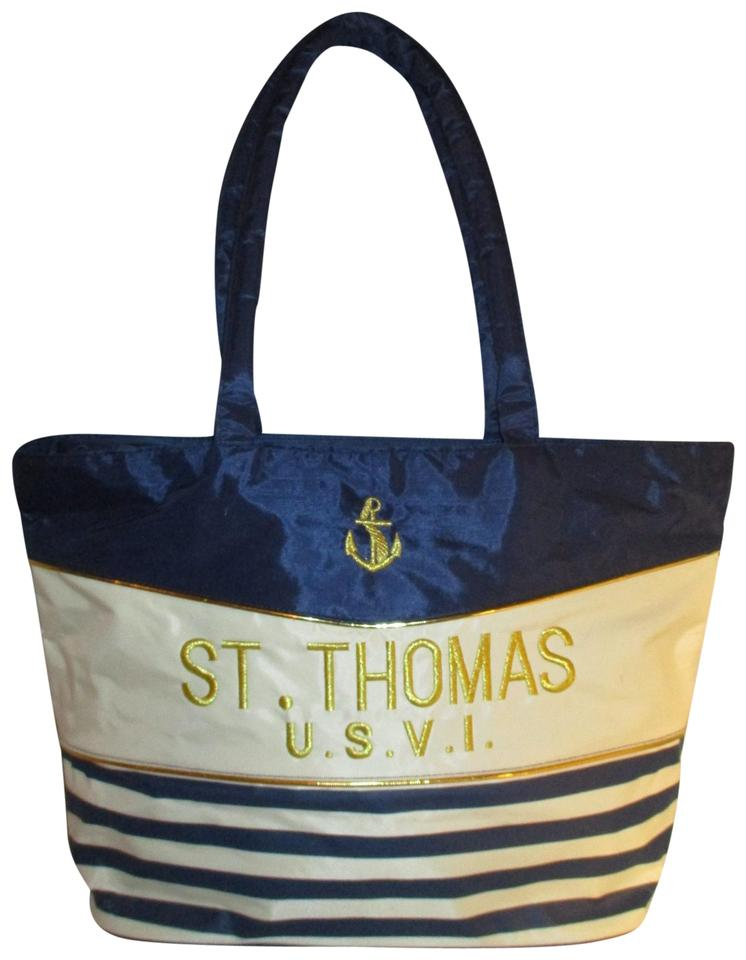 unknown Beach Nylon Nautical Stripped Tote in navy, white & gold ...