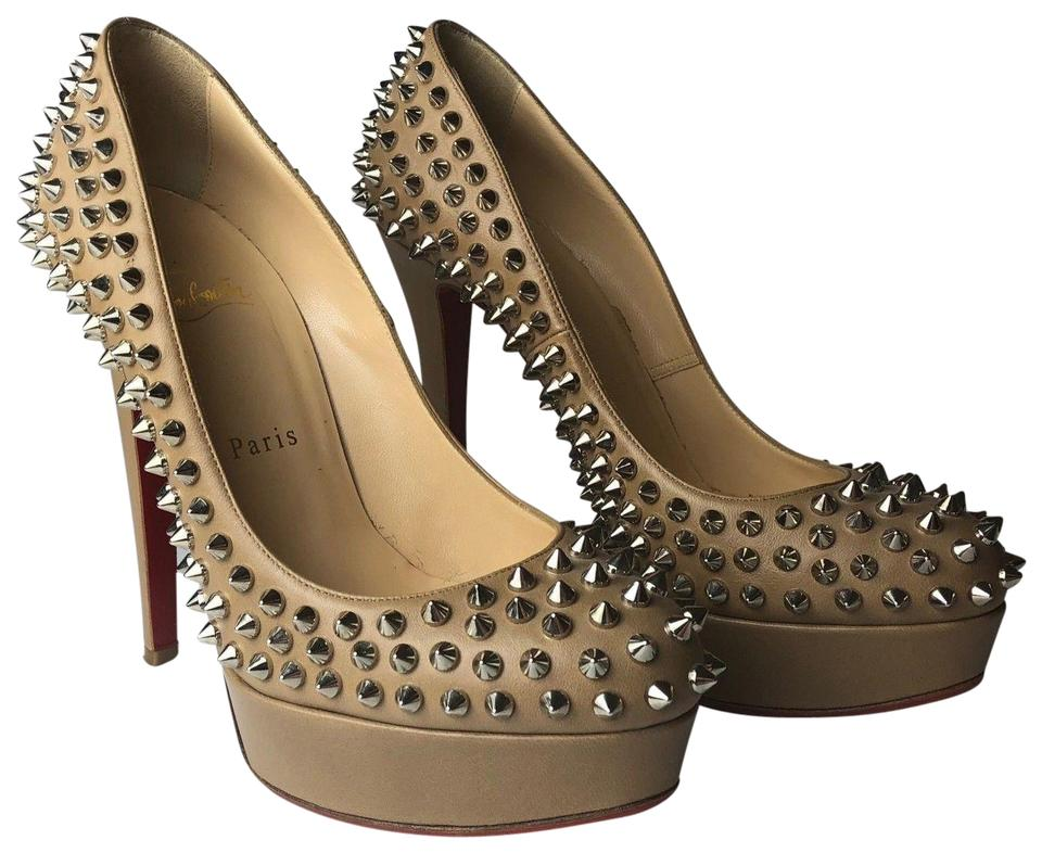 promo code c6a7d 4b791 Christian Louboutin Nude Beige Bianca 140 Spikes Leather Heels Pumps Size  EU 38 (Approx. US 8) Regular (M, B) 59% off retail