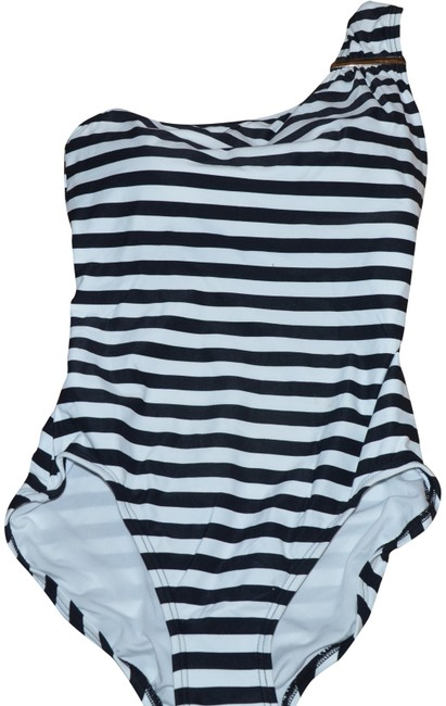 Item - Black White Gold Logo Bar One Shoulder Stripes One-piece Bathing Suit Size 8 (M)