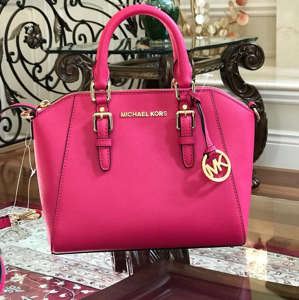 987d10a15b44 ... Tote wany 100 Michael Kors Ciara Leather Spring Gift Satchel in ultra  pink .