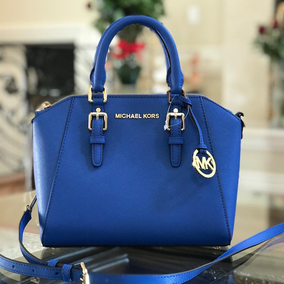 Michael Kors Ciara Ultra Pink Leather Spring Gift Satchel In Electric Blue