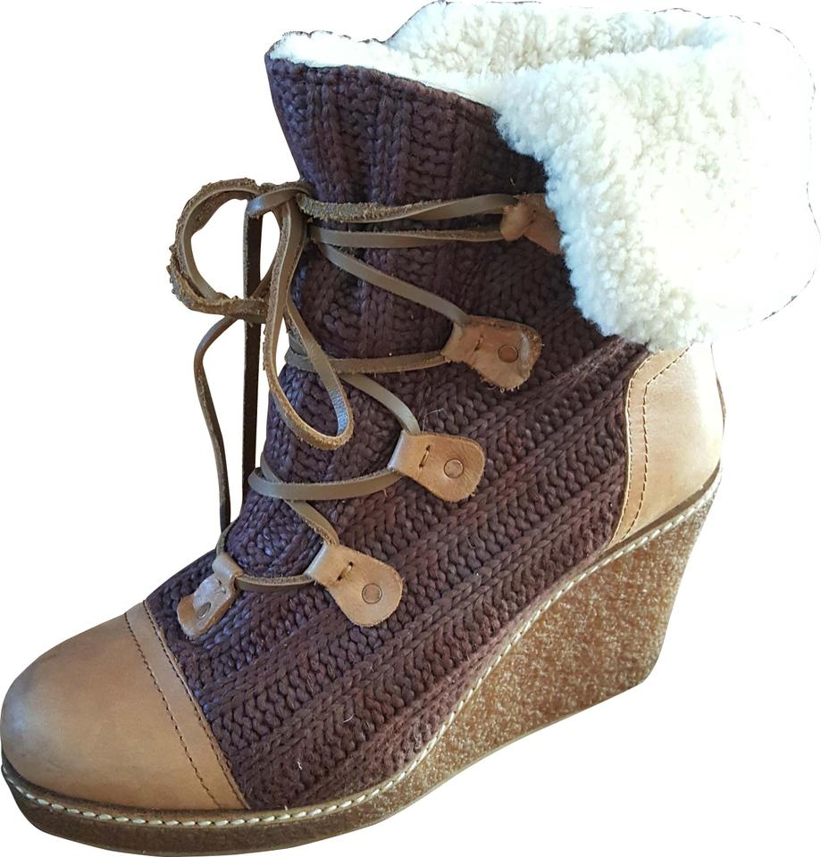 89ccbcaf563 Australia Luxe Collective Brown and Tan Mona Wedge Boots Booties ...