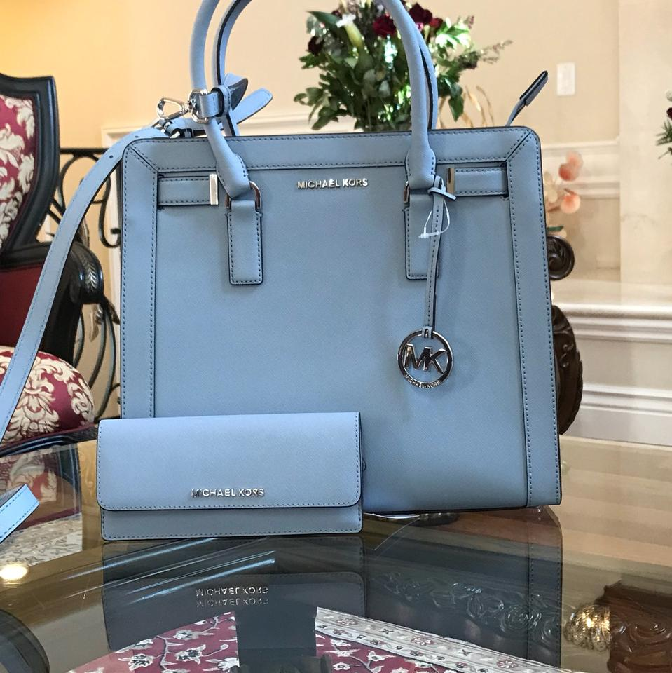 71bffc1b6b14ae Michael Kors Leather Spring Mother's Day Next Day Shipping Tote in PALE  BLUE Image 0 ...