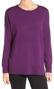 Eileen Fisher Bateau Neck Side Vents Washable Merino Wool Soft + Cozy Sweater