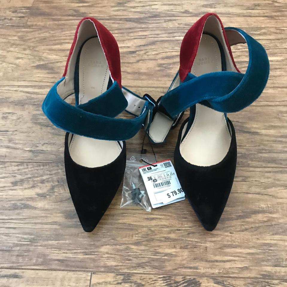 847485cde99 Zara Black Burgundy and Green Velvet Heels Pumps Size US 6 Regular ...