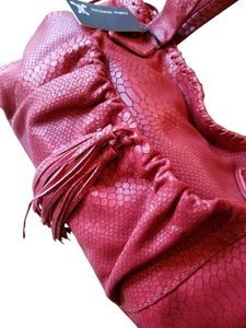 Carla Mancini Leather Embossed Python Tassels Satchel in Red