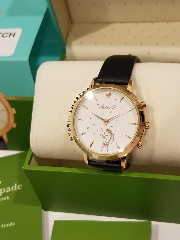 7ef205ca1 Kate Spade Navy Blue Hybrid Smartwatch Leather Cheers Rose Gold Tone ...