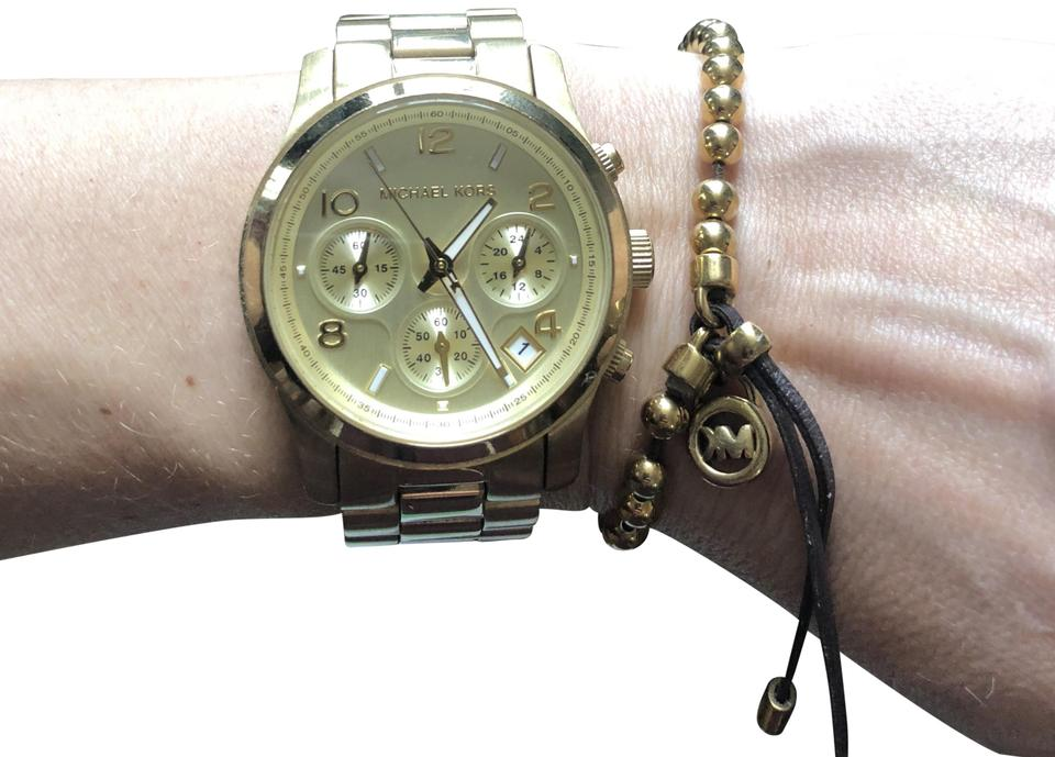 Michael Kors Mk 5055 Gold Chronograph Watch With Matching Bracelet