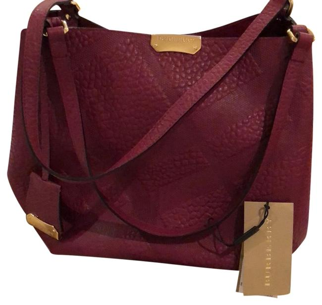 Item - Check Canterbury Tote Dark Plum Leather Shoulder Bag