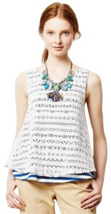 Anthropologie Swing Lace Over Stripes Sleeveless Super Unique Cool Top NWT Blue White