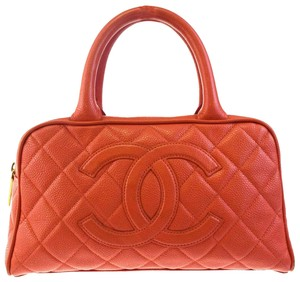 Chanel Vintage Lambskin Quilted Luxury European Satchel in salmon