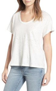 Current/Elliott Speckled Super Super Soft Scoop Neck Sleeves T Shirt NWT Dirty White