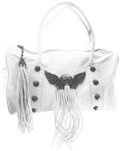 A&G Rock 'n' Roll Couture A & & Skulls Fringe Satchel in White