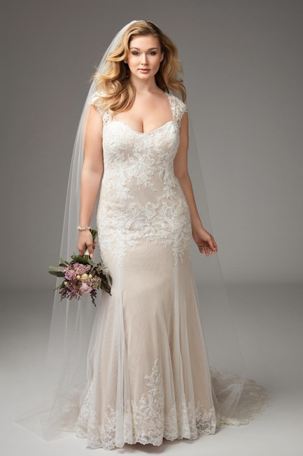 Item - Ivory Almond English Net Lace Wtoo Julienne Casual Wedding Dress Size 12 (L)
