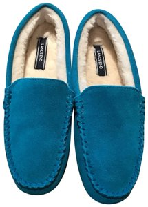 bc2f86ccf74 Lands  End Faux Suede Shearling turquoise blue Flats