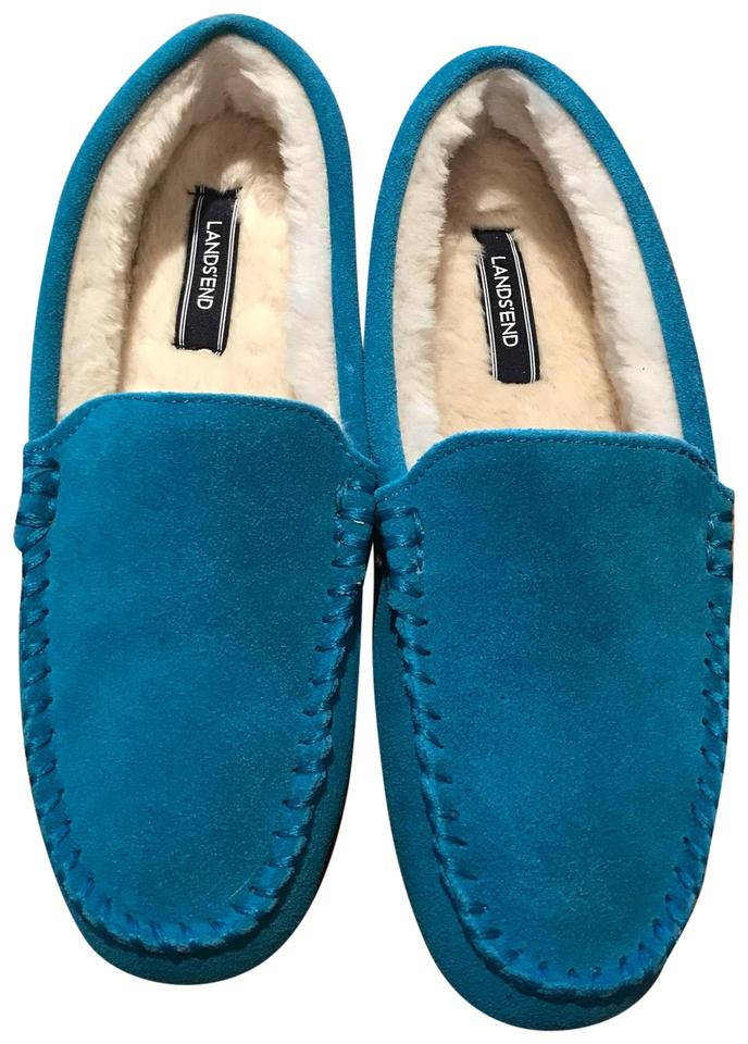 a88c582de41d Lands  End Turquoise Blue Women s Moc Faux Suede Slippers Flats Size ...
