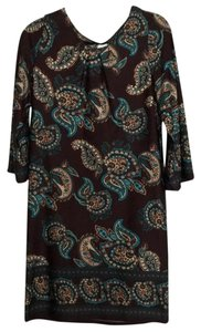 Brown with turquoise paisley Maxi Dress by Alyn Paige