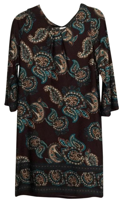 Item - Brown with Turquoise Paisley Mid-length Casual Maxi Dress Size 12 (L)