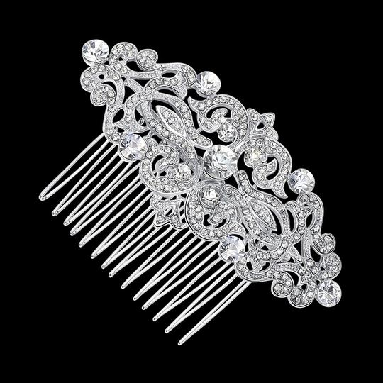 Clear Silver Crystal Comb Crystal Comb Hair Accessory