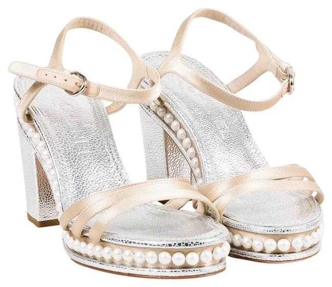 Item - Silver and Beige Leather & Satin Sandals with Pearls Platforms Size EU 39 (Approx. US 9) Regular (M, B)