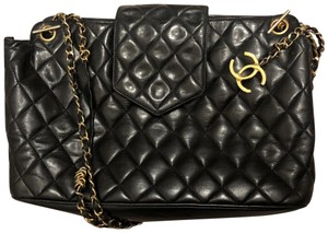 Chanel Quilted Gold Hardware Vintage Tote in Black